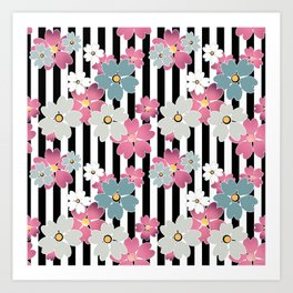 The floral pattern on striped background. Art Print
