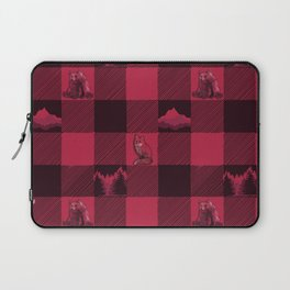 Fox and Bear Plaid #2 RED Laptop Sleeve