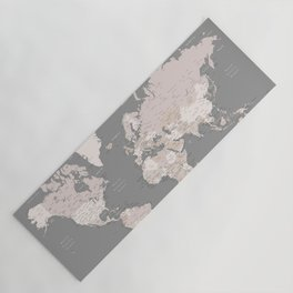 """World map in taupe and brown, """"Fabrizio"""" Yoga Mat"""