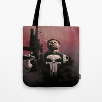 punisher Tote Bags featuring Punisher by Dave Seguin