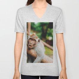 Cute Monkey (Color) Unisex V-Neck