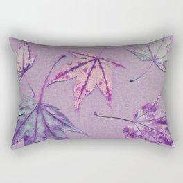 Japanese maple leaves - cerise and pistachio green on light purple Rectangular Pillow