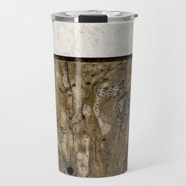 Cream Cement and Gnarled Wood Patterns Travel Mug
