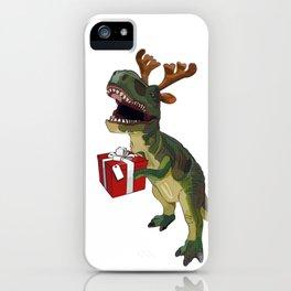 Christmas Trex holding present iPhone Case