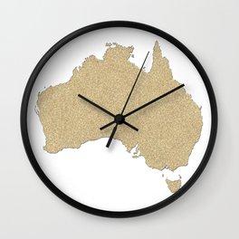 Map of Australia in gold glitter Wall Clock