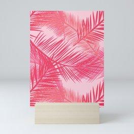 Palm Leaf Print, Coral, Peach and Pastel Pink Mini Art Print