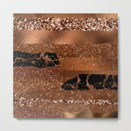 Girly Copper Coffee Glamour Glitter Metal Stripes   Metal Print