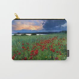 Spring poppies. Sunset at the lake. Carry-All Pouch
