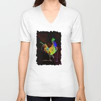 rooster V-neck T-shirts featuring ROOSTER by mimulux