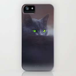 Black Cat with Green Eyes iPhone Case