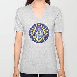 Masonic Square & Compass On Blue Disc Unisex V-Neck