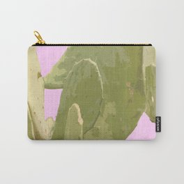Green cactus on a pink background Carry-All Pouch