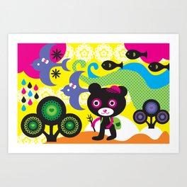 Hiking bear Art Print