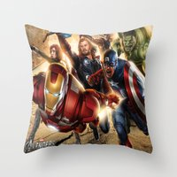 avenger Throw Pillows featuring The Avenger by Tania Joy