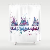 boats Shower Curtains featuring Little boats by Watercolorist