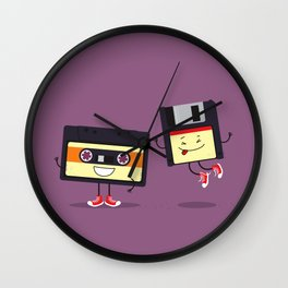 Floppy disk and cassette tape Wall Clock