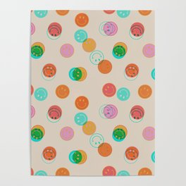 Smiley Face Stamp Print Poster