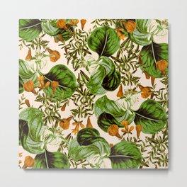 Orange Floral Botanic Metal Print