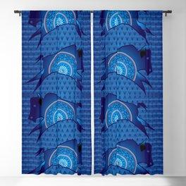 Buffalo Running (Blue) Blackout Curtain