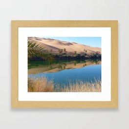 Gaberoun Oasis and Idehan Ubari Desert Dunes,  Libyan Sahara Framed Art Print