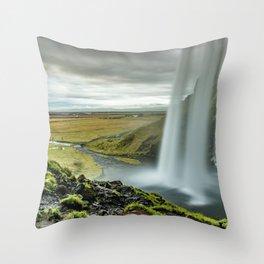 Seljalandsfoss Waterfall Island Throw Pillow