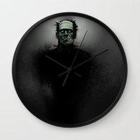 frankenstein Wall Clocks featuring Frankenstein by Foxjon