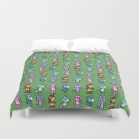 animal crossing Duvet Covers featuring Animal Crossing Design 3 by Caleb Cowan