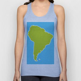 South America map blue ocean and green continent. Vector illustration Unisex Tank Top