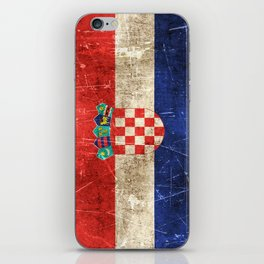 Vintage Aged and Scratched Croatian Flag iPhone Skin