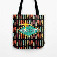 sin city Tote Bags featuring Sin City by Chelsea Dianne Lott