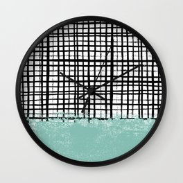 Mila - Grid and mint -  paint, art, artist cell phone case, grid phone case Wall Clock