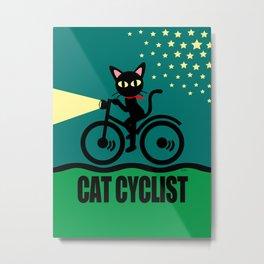 Cat Cyclist Metal Print
