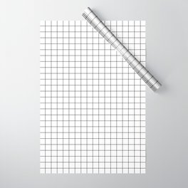 Black and White Thin Grid Graph Wrapping Paper