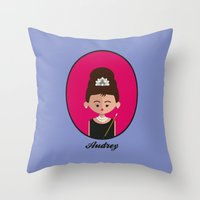 audrey hepburn Throw Pillows featuring Audrey Hepburn by Juliana Motzko