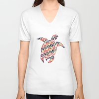 tortoise V-neck T-shirts featuring The Pattern Tortoise by VessDSign