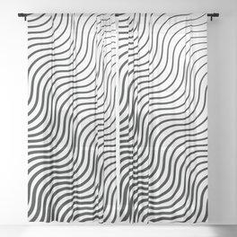 Whisker Pattern - Black #399 Sheer Curtain