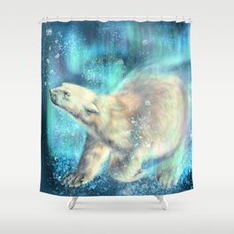 Floating polar bear Shower Curtain