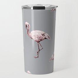 Simply Flamingo on Concrete Gray Travel Mug