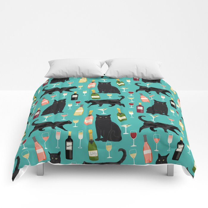 Black cat wine champagne cocktails cat breeds cat lover pattern art print Comforters