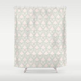 Elegant ivory pastel green lace romantic heart pattern Shower Curtain