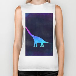 BRACHIOSAURUS IN SPACE // Animal Graphic Art // Watercolor Canvas Painting // Modern Minimal Cute Biker Tank