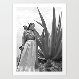 Frida Kahlo and Agave Plant, Black and White, Vintage Art Art Print