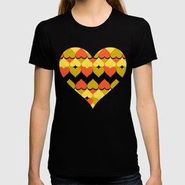 Multi Hearts Chartreuse Tangerine Black T-shirt