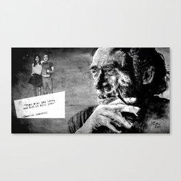 Charles Bukowski - love version - black Canvas Print