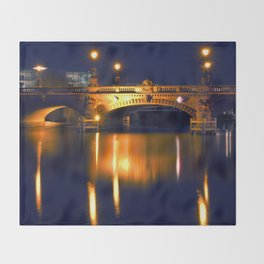 Nocturnal Lights on the river Spree in Berlin Throw Blanket