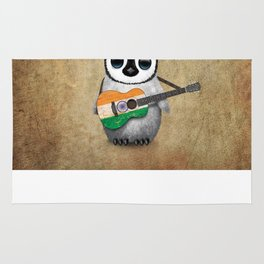 Baby Penguin Playing Indian Flag Acoustic Guitar Rug