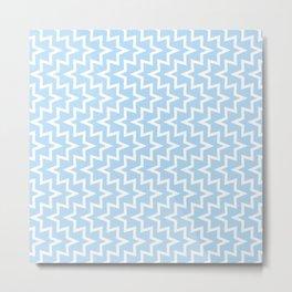 Geometric Sea Urchin Pattern - Light Blue & White #512 Metal Print
