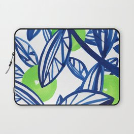 Blue and lime green abstract apple tree Laptop Sleeve
