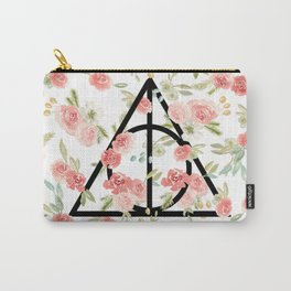 Floral Deathly Hallows Carry-All Pouch