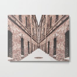 walkway in the middle of the brown brick buildings Metal Print